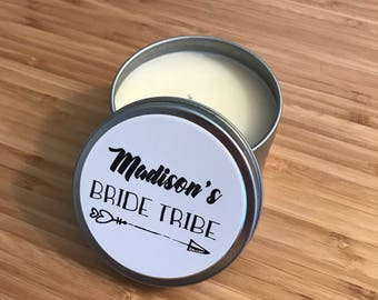 12 CUSTOM Hand Poured Tin Can Soy Candle Favors - Baby Bridal Shower Announcement Wedding Party Birthday Event