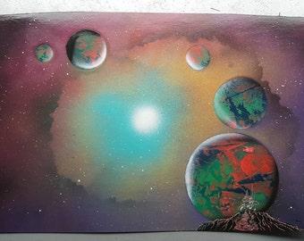 "Cosmos   15"" x 22"" Spray Paint Art"