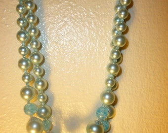 vintage blue 2 strand glass and lucite bead necklace/japan