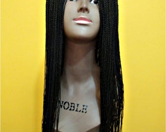 Handmade micro twist braided wig with a middle part lace closure,micro braid wig / Available for free immediate international shipping