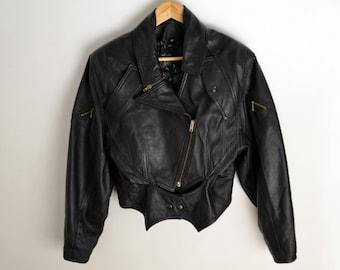 Leather jacket women S Biker Jacket Real leather 80s 90s Vintage leather jacket Vintage jacket Lederjacke 90s leather jacket black leather