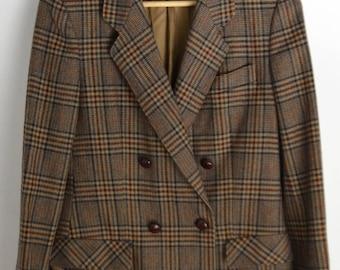 Wool jacket Women S Wool Blazer Wibor Tweed Jacket Vintage tweed Coat Сheckered blazer 90s jacket 90s coat Brown Casual jacket 90s blazer