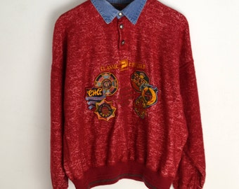 Sweater Vintage Men L Wool sweater 90s sweater Vintage jumper Red sweater 1990s Vintage Pullover 80s 90s style Classic Cruiser Patrick