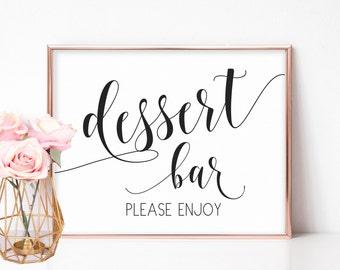 Dessert Bar Sign, Printable Dessert Sign, Dessert Table Sign, Dessert Table Decor, Wedding Table Signs, DIY Wedding, Wedding Dessert Bar