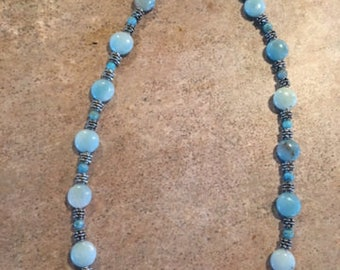 Necklace Aquamarine stones with jasper