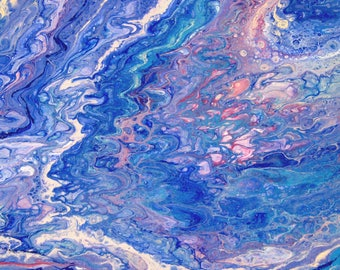 Mermaid in Distress - acrylic pour painting