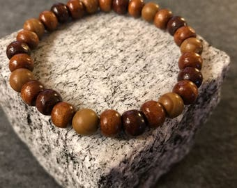 All Wood bracelet in 8mm wood beads for Women and men