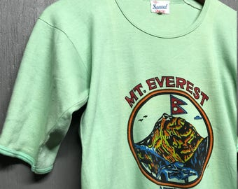 Tall S/M vintage 70s Mt Everest Nepal t shirt