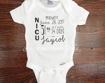NICU Graduate Personalized White Baby Onesie