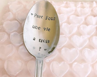 """Personalized gift for Dad """"ready for a life threesome?"""" - engraved spoon"""