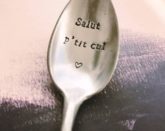 """Spoon to give to a friend or girlfriend """"Hi p' ass""""-engraved spoon"""