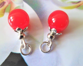 2 charms silver 15 mm red glass beads