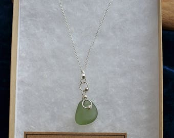 Handmade sterling silver & sea glass necklace