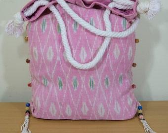 Vintage Handmade hippies Valerie Rope Beach Puka Tassel Sand Bag