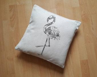 Flamingo Cushion Cover, Flamingo Pillow Cover, Robot Flamingo Case, Steampunk Bird Decor, Flamingo Lover Gift, Flamingo Decor Gift