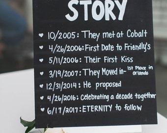 Our Love Story Wedding Sign - Blackboard - Chalkboard - Rustic