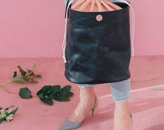 DUEDUE PM1 Double Bucket Bag (Italian Cow Leather) Nero/Rosa