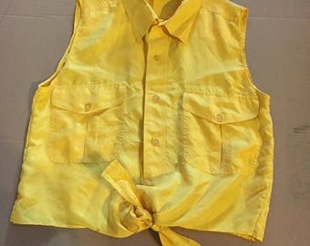 Episode Acidic yellow silk sleevless shirt