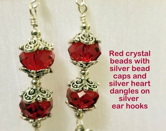 Red Crystal Earrings with Silver Heart Dangles