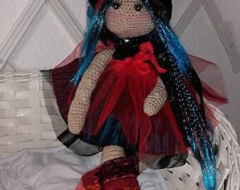 Doll Girl crocheted wool 48 cm