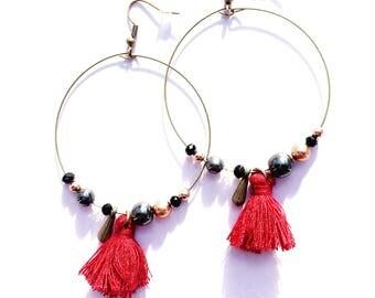Earrings hoop earrings/Red