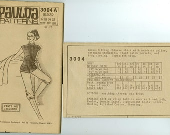 3004 A Pauloa Pattern - Misses shirt with mandarin collar - Uncut sewing pattern - size 6, 10, 14, 18