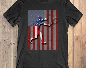 Tennis T-Shirt Gift: American Flag
