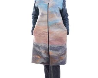 Handmade merino coat, women coat, wearable art, designer coat, felted coat, eco-fashion, Gift for her