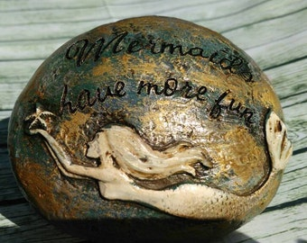 Mermaid Rock   Mermaid Decor   Mermaid Gift   Gift Under 10   Best Friend  Gift