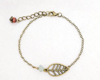 Bronze leaf - green Aventurine bracelet
