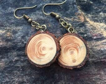 Rustic Blue Spruce Wooden Earrings, Wood Cookie Earrings, Boho Earrings, Wood Slice Earrings