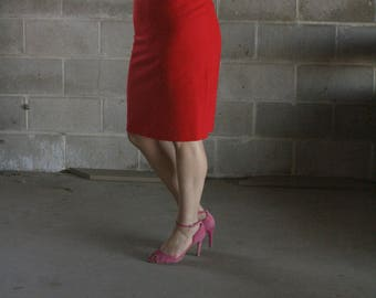 vintage 1980s fire red pencil skirt / skirt suiting / us 8 / s / m / l
