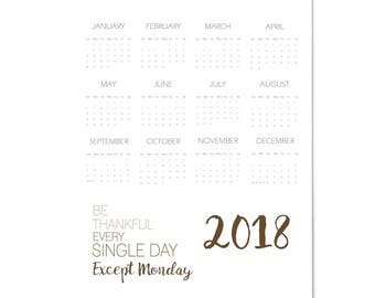 2018 Large Full Year Wall Calendar Monday