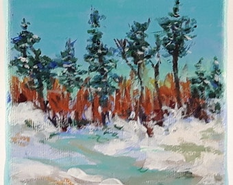 """Hanging ornament, Trees in the snow , original signed painting acrylic on 4""""x4"""" canvas"""