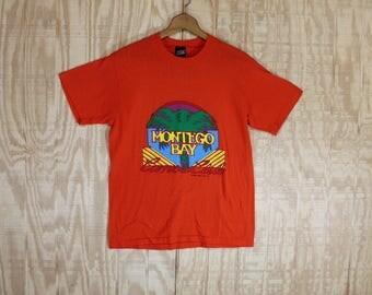 Vintage 1980's Top Half Label Montego Bay Canoe Club Graphic 50/50 T-Shirt  T Shirt M / L