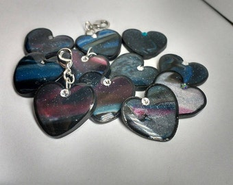 Space Heart Keychain charms