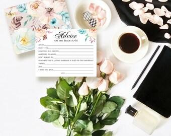 Advice for the Bride Printable Cards Boho Floral Bridal Shower Advice Cards Bride Advice Cards Bridal Shower Games DIY Download Back Side