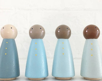 Blue Ombré Peg People Set