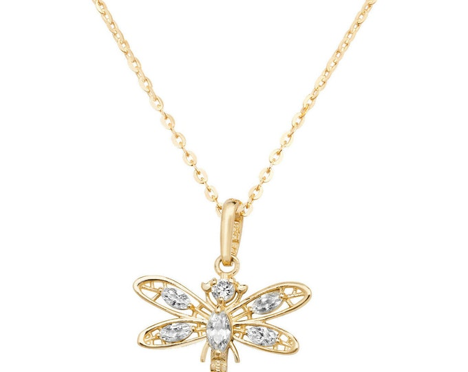 """9ct Yellow Gold & Cz Dragonfly Pendant on 16""""-18"""" Necklace"""