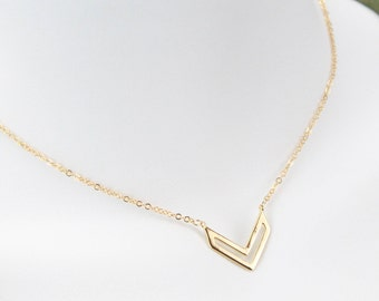 Glossy Gold Plated Double V necklace