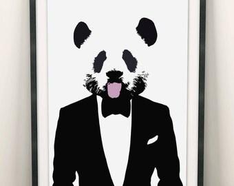 Panda Print (Limited Edition of 100) - A3 Vintage Retro Panda Poster Pop Art Cute Panda Street Art Print Panda Wall Art Bow Tie Panda Gifts