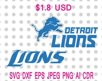 Detroit Lions Logo Svg Dxf Eps Png Jpg Cdr Ai Cut Vector File Silhouette Cameo Cricut Design Vinyl Decal
