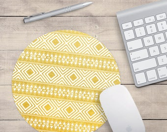 Yellow Mouse pad, Yellow Computer Mouse pad, Tribal Mouse Pad, Yellow Pattern Mouse pad, Yellow Desk Accessories, Cute mouse pad, Yellow