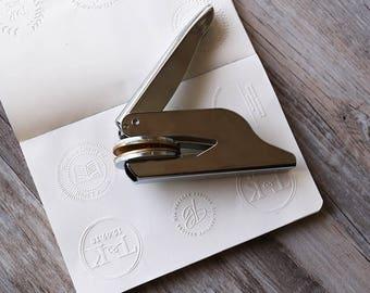 Custom Embosser stamp, embossing letter press stamp, wedding seal, library stamp,book embosser,hand held