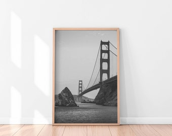 Golden Gate Bridge, San Francisco Print, Digital Download, San Francisco Photography, Minimalist Decor, Printable Art, Black and White Art