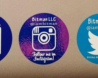 SOCIAL MEDIA FOLLOW Me Stickers - Custom Made