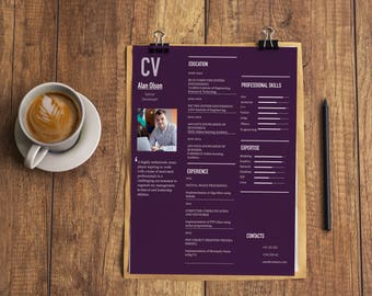 Mac Pages Resume Template | Modern Resume Template | Professional Resume  Template | Professional CV Template  Eye Catching Resume