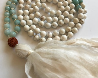 Self Expression and Truth- Matsyasana Mala Necklace.  Faceted Green Amazonite and White Turquoise Mala Beads
