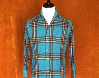 Vintage 1990s, Turquoise, Men's Flannel Shirt, Plaid Button Up Shirt
