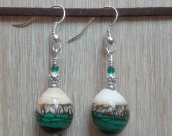 Earrings green and white, glass beads